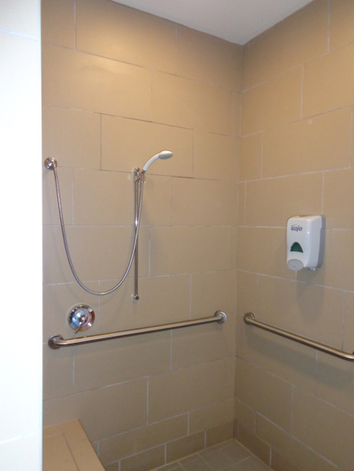 Shower area at Whiskey Petes