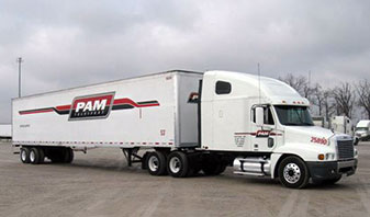 PAM Transport updates trucks with new logo.