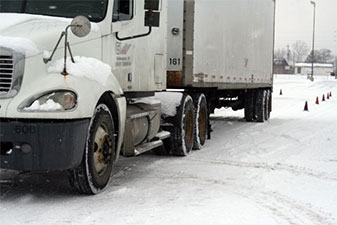 Driving in snow at a truck driving school